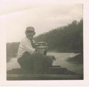 Grandpa Schwegler in his jon boat.