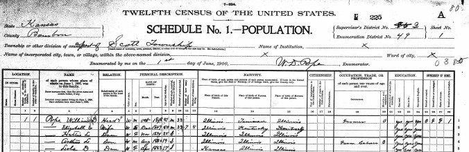 Pope, William D - 1900 United States Federal Census