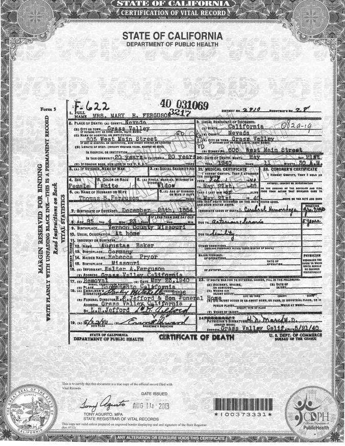 Baker, Mary E. Death Certificate