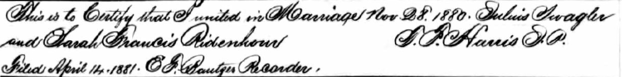 Schwegler, Julius and Ridenhour, Francis - Missouri Marriage Records 1805-2002