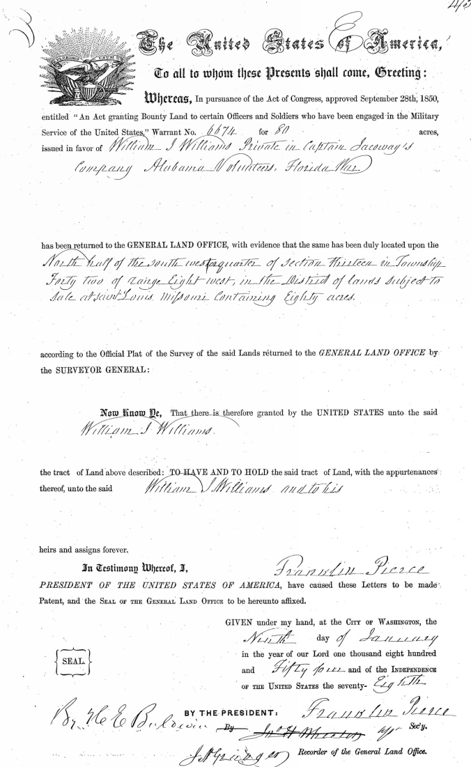 Williams, William J, Land Patent, No. 6674, 9 Jan 1854_Page_1