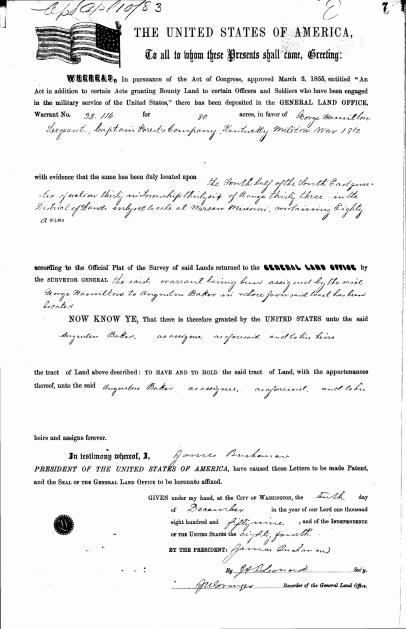Baker, Augustus, Land Patent Purchase from George Hamilton, 10 Dec 1859_Page_1