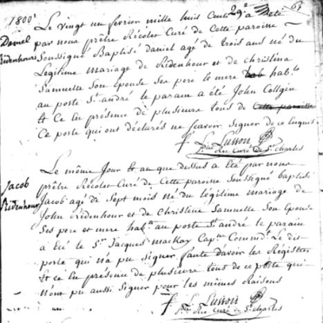 Daniel Ridenhour Baptisim Record
