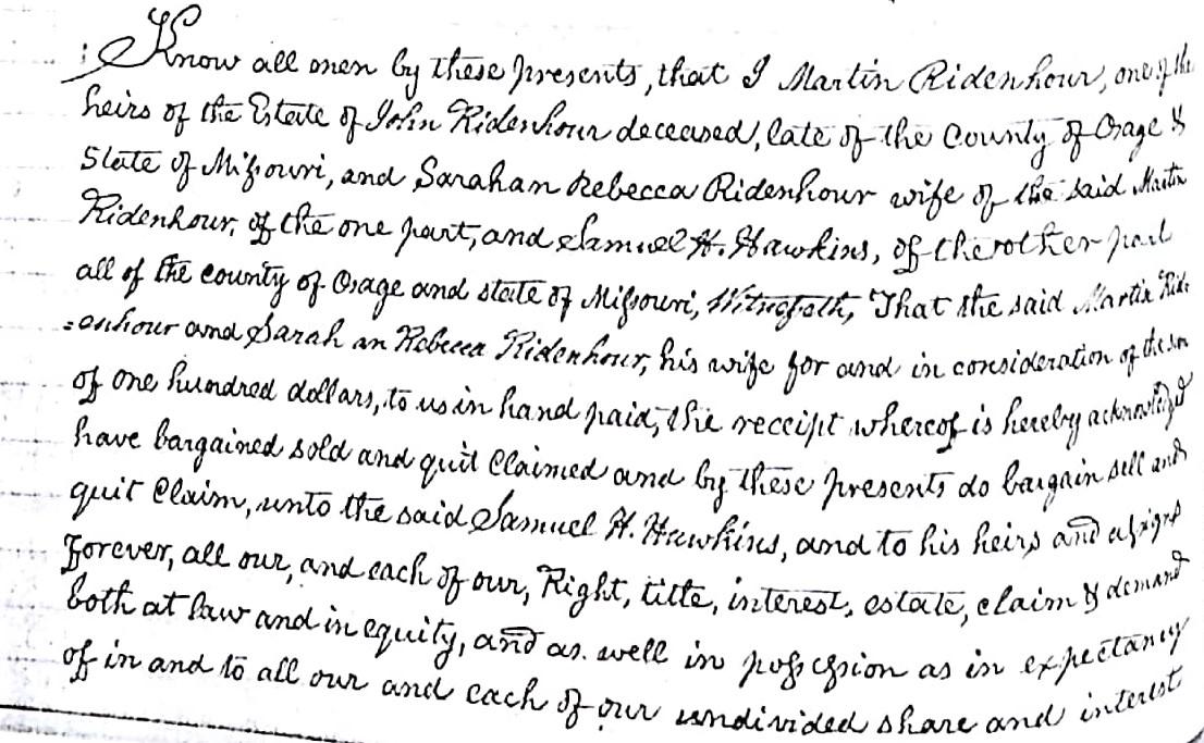 Ridenhour, Martin, Osage County, MO, Recorder of Deeds, Book E, P. 220 (2)
