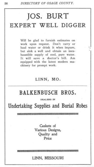 Burt, Joseph Directory Advertisement 1915